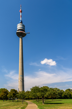 metres: VIENNA, AUSTRIA - AUGUST 20, 2015: The Vienna Donauturm Danube Tower, opened in April 1964, is the tallest structure in Austria, at 252 metres and among the 75 tallest towers in the world.