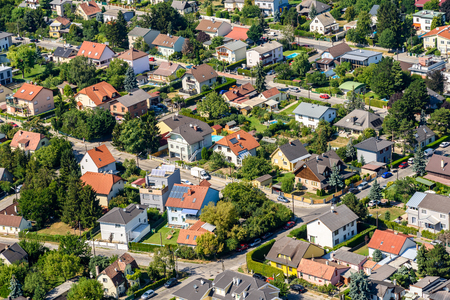 suburbia: Aerial View Of Suburbs Roofs In Vienna, Austria.
