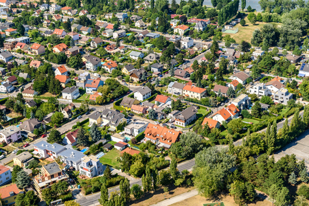 residential neighborhood: Aerial View Of Suburbs Roofs In Vienna, Austria.