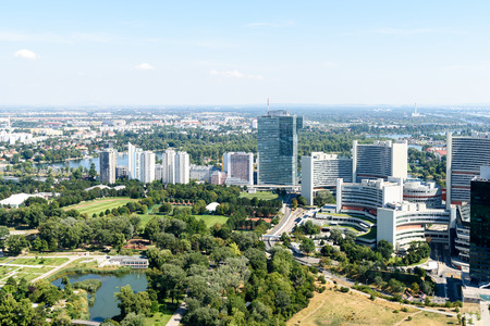 aerial view of city: Aerial View Of Vienna City Skyline