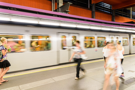 subway station: VIENNA, AUSTRIA - AUGUST 25, 2015: People Waiting For Train In Subway Station In Downtown Vienna. Editorial