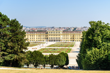 summer residence: VIENNA, AUSTRIA - AUGUST 25, 2015: Schonbrunn Palace Schloss Schonbrunn is a former baroque imperial summer residence located in Vienna.