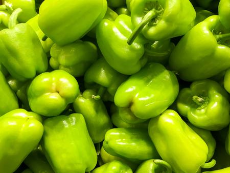 green pepper: Green Capsicum In Vegetable Market Display
