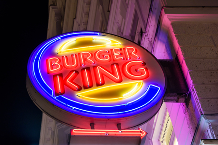 king: VIENNA, AUSTRIA - AUGUST 25, 2015: Founded in 1953 Burger King is a global chain of hamburger fast food restaurants headquartered in unincorporated Miami-Dade County, Florida, United States.