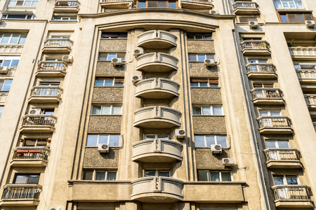 condominium complex: BUCHAREST, ROMANIA - JANUARY 12, 2016: Apartment Buildings On Victory Street Calea Victoriei One Of The Most Important And Oldest Streets In Bucharest.