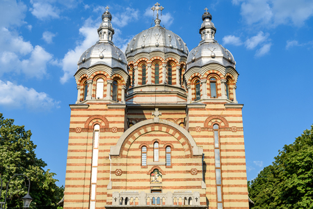 the orthodox church: TECUCI, ROMANIA - JULY 24, 2015: Built In 1938 The Cathedral Saint George Sfantul Gheorghe Is A Large Orthodox Church Located Downtown Of Tecuci City.