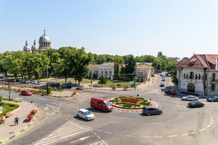 top down car: TECUCI, ROMANIA - JULY 26, 2015: High View Of Downtown Tecuci City In Galati County. Editorial