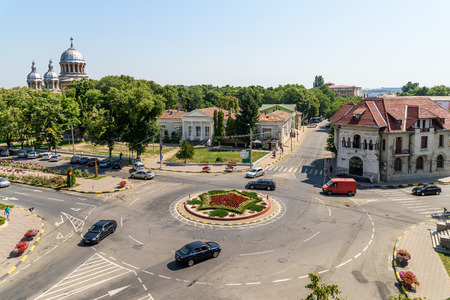 galati: TECUCI, ROMANIA - JULY 26, 2015: High View Of Downtown Tecuci City In Galati County. Editorial