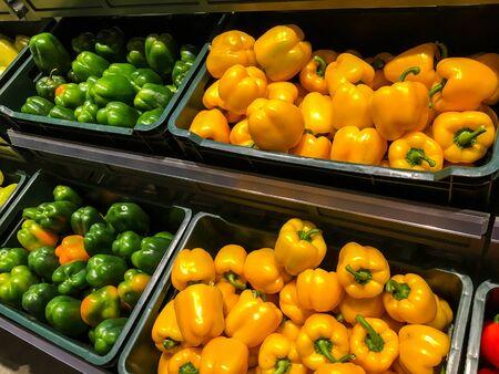 capsicum: Colored Capsicum In Vegetable Market Display Editorial