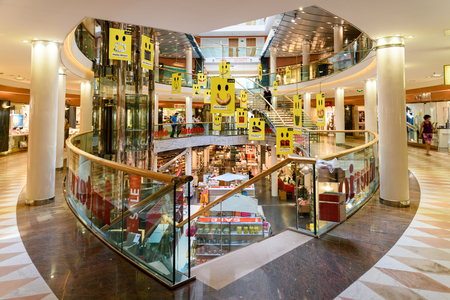 centers: VIENNA, AUSTRIA - AUGUST 08, 2015: Ringstrassen-Galerien is a complex of two different buildings connected by a glass bridge, making it one of the most important shopping centers in the city.