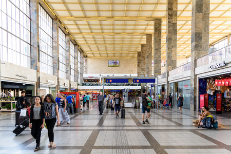 u bahn: VIENNA, AUSTRIA - AUGUST 08, 2015: People Walking In Wien Mitte The Major Hub For S-Bahn Suburban Trains, U-Bahn Trains And The City Airport Train CAT Which Provides Service To Vienna Airport. Editorial