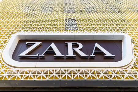 retailer: VIENNA, AUSTRIA - AUGUST 08, 2015: Zara is a Spanish clothing and accessories retailer based in Arteixo, Galicia, and founded in 1975 by Amancio Ortega and Rosala Mera. Editorial