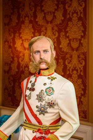 VIENNA, AUSTRIA - AUGUST 08, 2015: Kaiser Franz Joseph von Osterreich Figurine At Madame Tussauds Wax Museum.