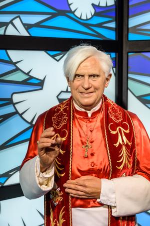 pontiff: VIENNA, AUSTRIA - AUGUST 08, 2015: Pope Benedict XVI Figurine At Madame Tussauds Wax Museum.