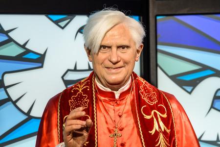 xvi: VIENNA, AUSTRIA - AUGUST 08, 2015: Pope Benedict XVI Figurine At Madame Tussauds Wax Museum.