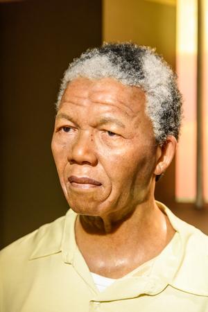 mandela: VIENNA, AUSTRIA - AUGUST 08, 2015: Nelson Mandela Figurine At Madame Tussauds Wax Museum.