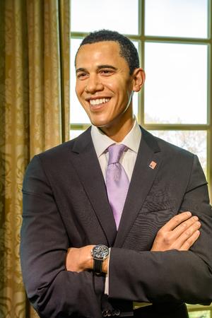 museum rally: VIENNA, AUSTRIA - AUGUST 08, 2015: Barack Obama Figurine At Madame Tussauds Wax Museum.