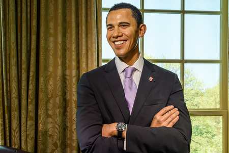 barrack: VIENNA, AUSTRIA - AUGUST 08, 2015: Barack Obama Figurine At Madame Tussauds Wax Museum.