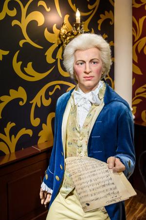 amadeus mozart: VIENNA, AUSTRIA - AUGUST 08, 2015: Wolfgang Amadeus Mozart Figurine At Madame Tussauds Wax Museum.