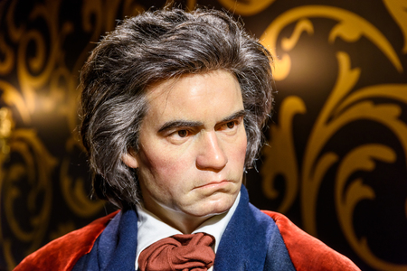 beethoven: VIENNA, AUSTRIA - AUGUST 08, 2015: Ludwig van Beethoven Figurine At Madame Tussauds Wax Museum.
