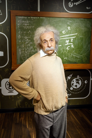 VIENNA, AUSTRIA - AUGUST 08, 2015: Albert Einstein Figurine At Madame Tussauds Wax Museum. 報道画像