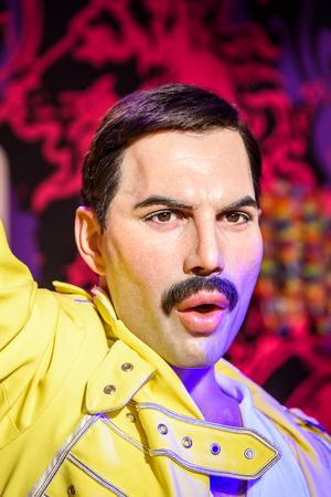 VIENNA, AUSTRIA - AUGUST 08, 2015: Freddie Mercury Figurine At Madame Tussauds Wax Museum.