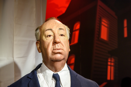 VIENNA, AUSTRIA - AUGUST 08, 2015: Alfred Hitchcock Figurine At Madame Tussauds Wax Museum.