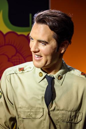 elvis presley: VIENNA, AUSTRIA - AUGUST 08, 2015: Elvis Presley Figurine At Madame Tussauds Wax Museum.