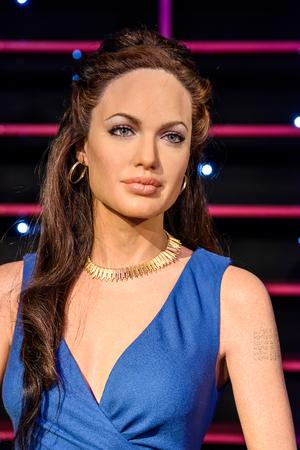 angelina jolie: VIENNA, AUSTRIA - AUGUST 08, 2015: Angelina Jolie Figurine At Madame Tussaud Wax Museum.