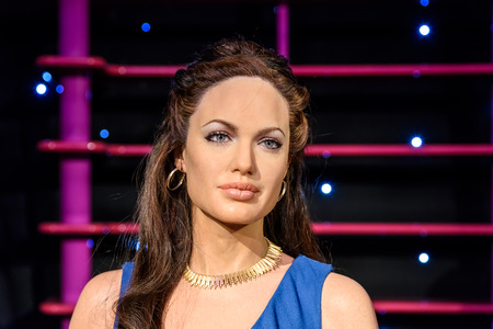 VIENNA, AUSTRIA - AUGUST 08, 2015: Angelina Jolie Figurine At Madame Tussaud Wax Museum.
