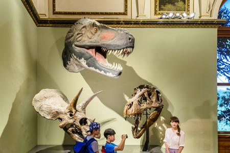 exhibit: VIENNA, AUSTRIA - AUGUST 09, 2015: People Visit Dinosaur Prehistoric Exhibit At The Museum of Natural History Naturhistorisches Museum The Largest Natural History Museum In Vienna. Editorial