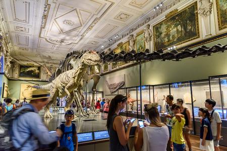 WENEN, Oostenrijk - 9 augustus 2015: De mensen Bezoek Dinosaur Prehistoric tentoonstelling in het Museum of Natural History Museum Naturhistorisches De grootste Natural History Museum in Wenen.