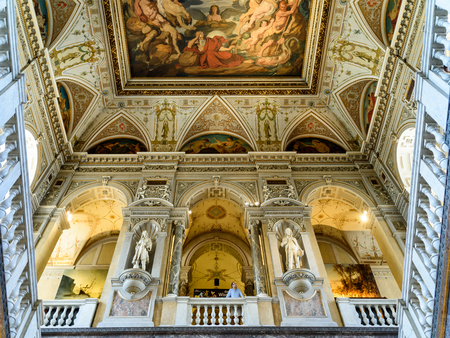 VIENNA, AUSTRIA - AUGUST 10, 2015: People Visit The Museum of Natural History Naturhistorisches Museum The Largest Natural History Museum In Vienna.