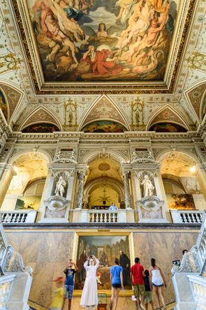 history: VIENNA, AUSTRIA - AUGUST 10, 2015: People Visit The Museum of Natural History Naturhistorisches Museum The Largest Natural History Museum In Vienna.