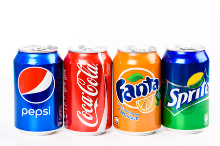 aluminium can: BUCHAREST, ROMANIA - JANUARY 16, 2016: Pepsi, Coca Cola, Sprite And Fanta are the most famous carbonated soft drinks sold in stores, restaurants, and vending machines all around the world.