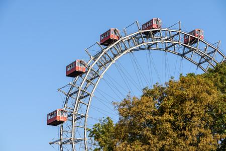 prater: Fun Park Ferris Wheel Against Blue Sky In Vienna Prater Park