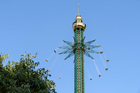 people having fun: People Having Fun In Carousel Swing Ride At Amusement Park