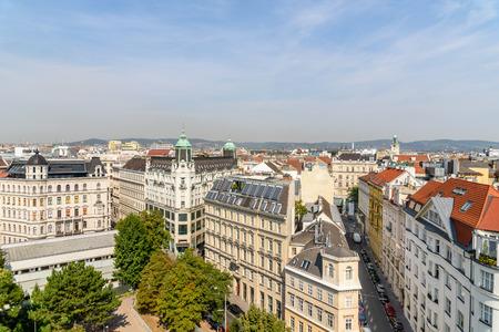 Luchtfoto van de skyline van de stad Wenen Stockfoto