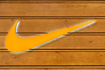 nike: VIENNA, AUSTRIA - AUGUST 11, 2015: Nike is one of the worlds largest suppliers of athletic shoes and apparel and a major manufacturer of sports equipment