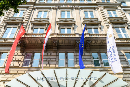 five star: VIENNA, AUSTRIA - AUGUST 11, 2015: Hotel de France Is One Of The Most Famous Five Star Hotel In Vienna City.