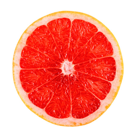 Fresh Red Grapefruit Slice Isolated On White