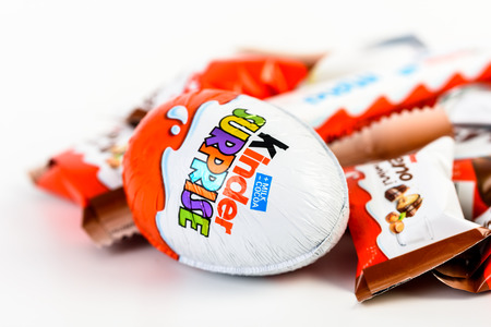 ferrero: BUCHAREST, ROMANIA - DECEMBER 02, 2015: Kinder Chocolate is a confectionery product brand line of Italian confectionery multinational Ferrero.