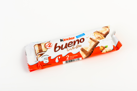 kinder: BUCHAREST, ROMANIA - DECEMBER 02, 2015: Kinder Bueno Chocolate is a confectionery product brand line of Italian confectionery multinational Ferrero.