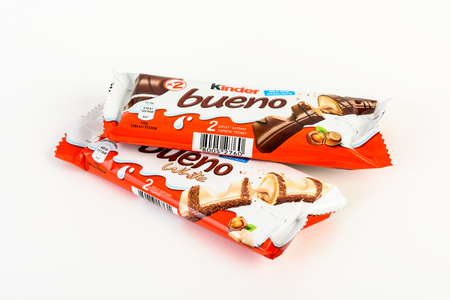 ferrero: BUCHAREST, ROMANIA - DECEMBER 02, 2015: Kinder Bueno Chocolate is a confectionery product brand line of Italian confectionery multinational Ferrero.