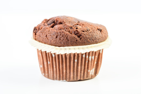 choco chips: Homemade Chocolate Chip Muffin On White