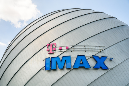 motion picture: BUCHAREST, ROMANIA - MAY 12, 2015: IMAX is a motion picture film format and a set of cinema projection standards created by Canadian company IMAX Corporation. Editorial