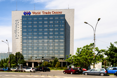 famous industries: BUCHAREST, ROMANIA - MAY 13, 2015: Pullman Bucharest World Trade Center is a four star hotel in downtown Bucharest that also houses the headquarters of Michelin Romania. Editorial