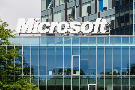 bucharest: BUCHAREST, ROMANIA - MAY 13, 2015: Microsoft Corporation is an American multinational technology company in Washington that develops, manufactures, licenses, supports and sells computer software. Editorial