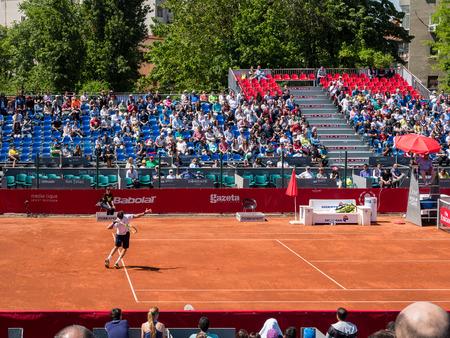 lucas: BUCHAREST, ROMANIA - APRIL 23, 2016: Federico Delbonis and Lucas Pouille Semifinals Match At BRD Nastase Tiriac Trophy. Editorial