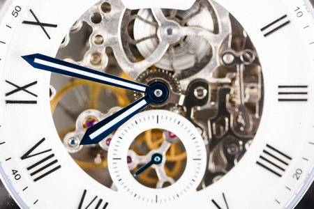 automatic: Automatic Men Watch With Visible Mechanism Stock Photo